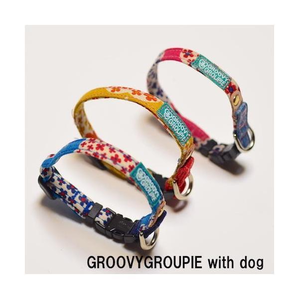 超小型犬用 首輪 花柄プリントとデニム&レザー|groovygroupie|02