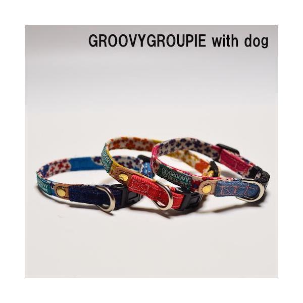 超小型犬用 首輪 花柄プリントとデニム&レザー|groovygroupie|03