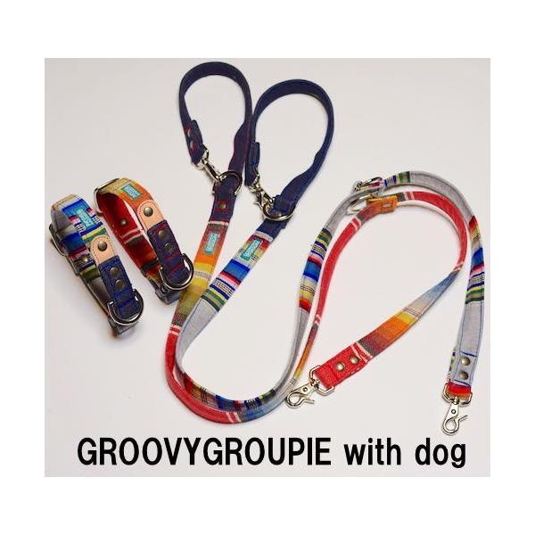 小型犬用 首輪とリード。 マルチストライプ&デニム+レザー セットでお得  groovygroupie