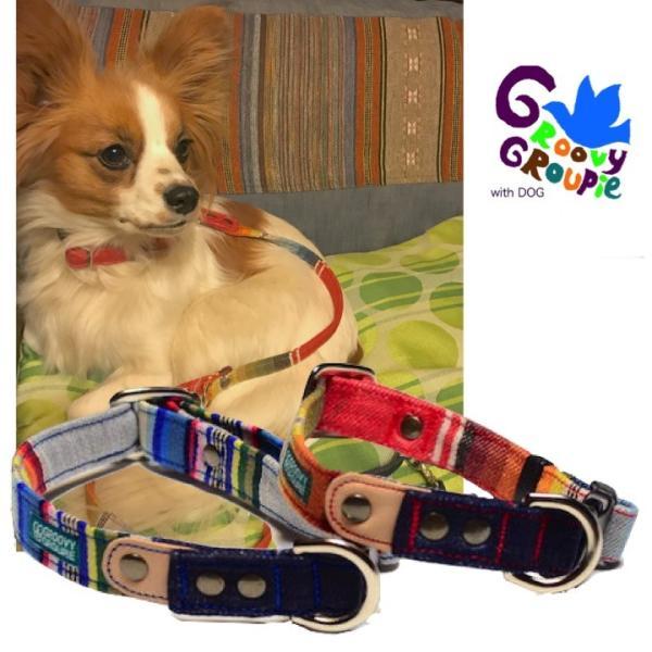 小型犬用 首輪とリード。 マルチストライプ&デニム+レザー セットでお得  groovygroupie 02