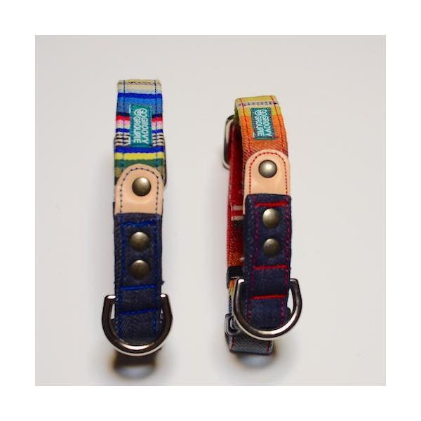 小型犬用 首輪とリード。 マルチストライプ&デニム+レザー セットでお得  groovygroupie 06