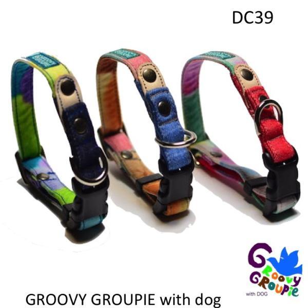 小型犬用【Sサイズ】首輪 カラフルbonbonプリント デニム&レザー|groovygroupie