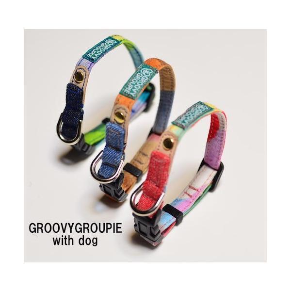 超小型犬用 首輪 カラフルbonbonプリントとデニム&レザー|groovygroupie