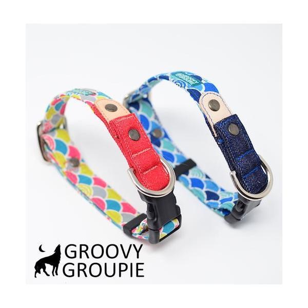 首輪 中型犬用 Mサイズ  和柄 青海波&デニム+レザー groovygroupie