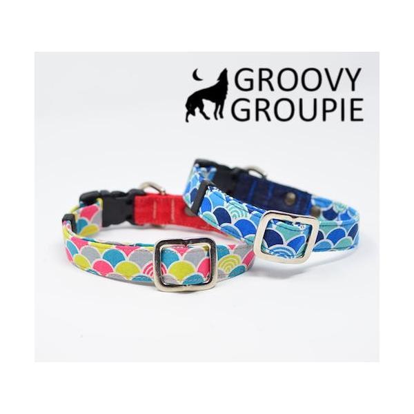 首輪 中型犬用 Mサイズ  和柄 青海波&デニム+レザー groovygroupie 04
