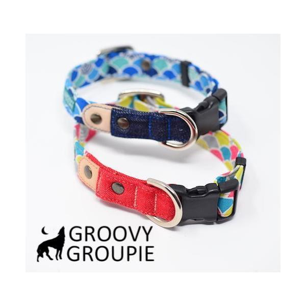 首輪 中型犬用 Mサイズ  和柄 青海波&デニム+レザー groovygroupie 05
