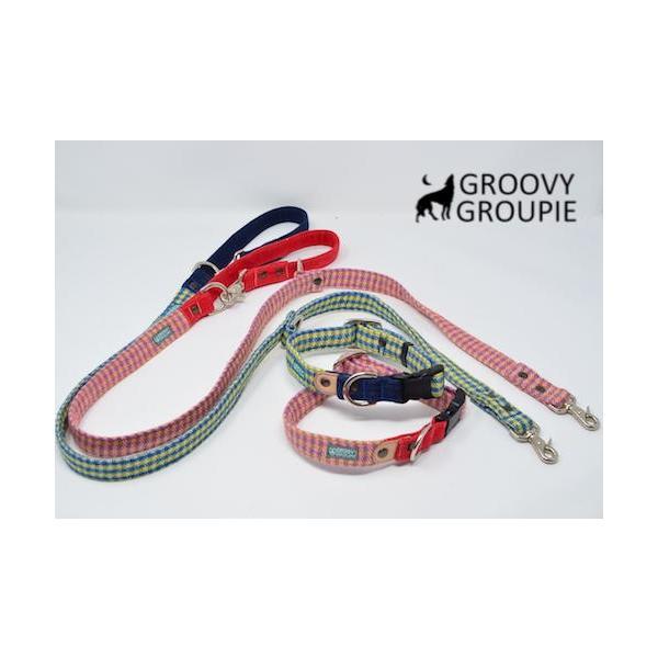 小型犬用 首輪とリードセット   アクリルミックス ギンガムチェック & デニム セットでお得 |groovygroupie