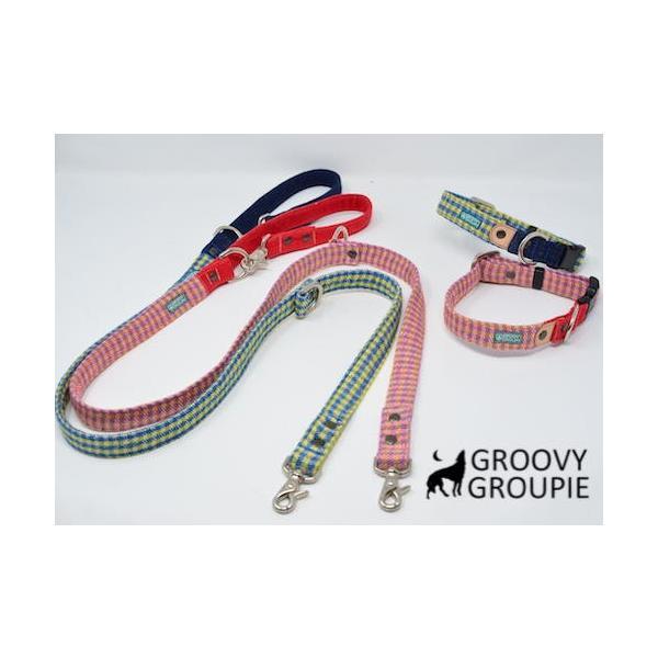 小型犬用 首輪とリードセット   アクリルミックス ギンガムチェック & デニム セットでお得 |groovygroupie|02