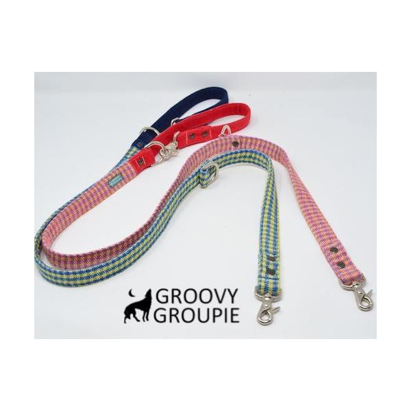 小型犬用 首輪とリードセット   アクリルミックス ギンガムチェック & デニム セットでお得 |groovygroupie|12