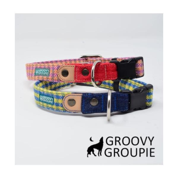 小型犬用 首輪とリードセット   アクリルミックス ギンガムチェック & デニム セットでお得 |groovygroupie|03