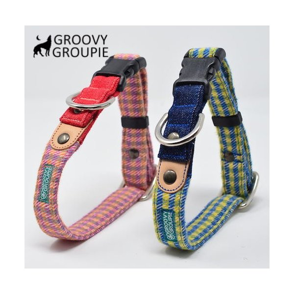 小型犬用 首輪とリードセット   アクリルミックス ギンガムチェック & デニム セットでお得 |groovygroupie|04