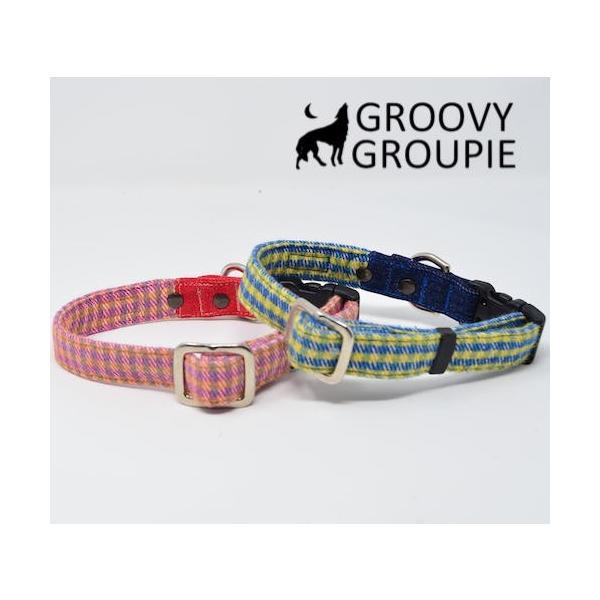 小型犬用 首輪とリードセット   アクリルミックス ギンガムチェック & デニム セットでお得 |groovygroupie|05