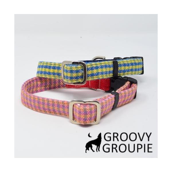 小型犬用 首輪とリードセット   アクリルミックス ギンガムチェック & デニム セットでお得 |groovygroupie|06