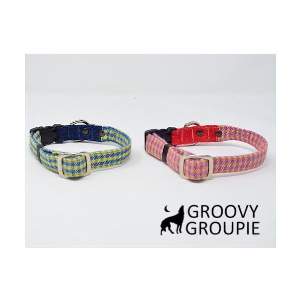 小型犬用 首輪とリードセット   アクリルミックス ギンガムチェック & デニム セットでお得 |groovygroupie|08
