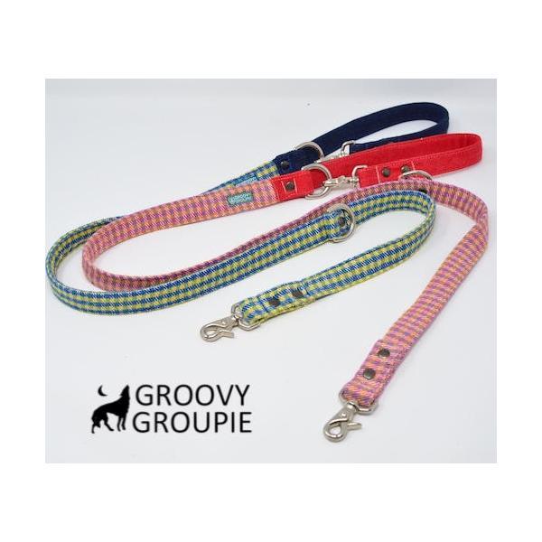 小型犬用 首輪とリードセット   アクリルミックス ギンガムチェック & デニム セットでお得 |groovygroupie|09