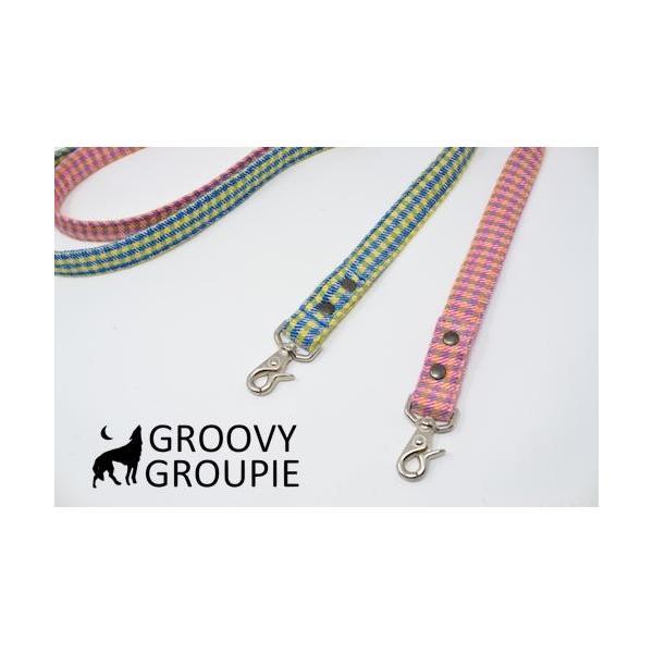 小型犬用 首輪とリードセット   アクリルミックス ギンガムチェック & デニム セットでお得 |groovygroupie|10