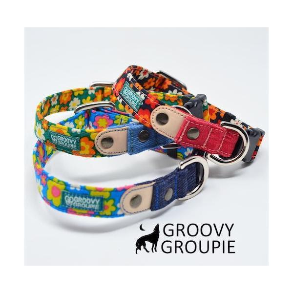首輪 中型犬用 Mサイズ  レトロ風花柄 & デニム +レザー|groovygroupie