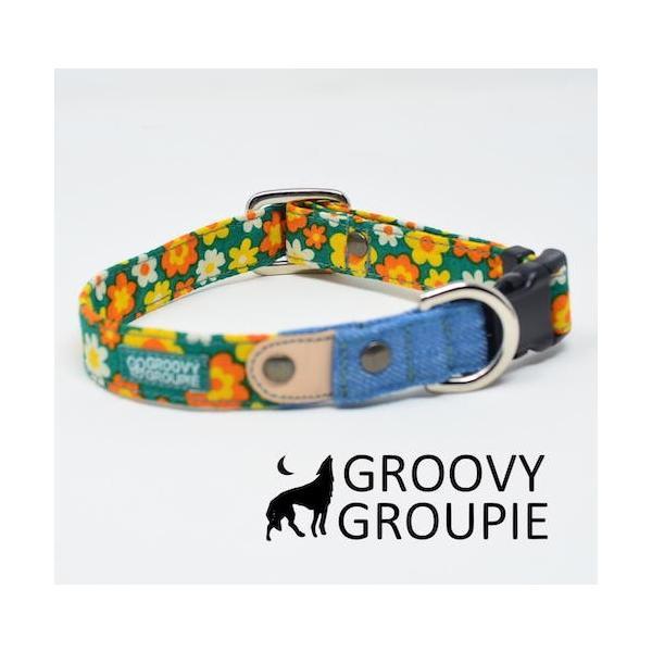 首輪 中型犬用 Mサイズ  レトロ風花柄 & デニム +レザー|groovygroupie|02