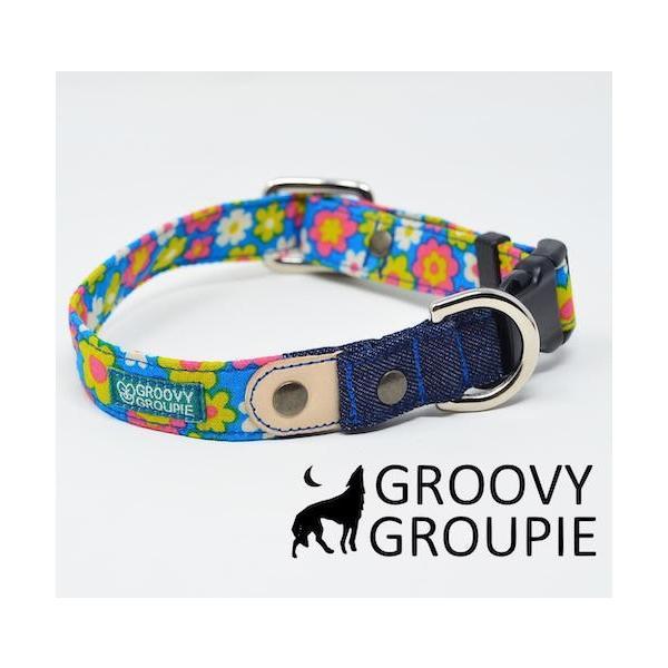 首輪 中型犬用 Mサイズ  レトロ風花柄 & デニム +レザー|groovygroupie|03