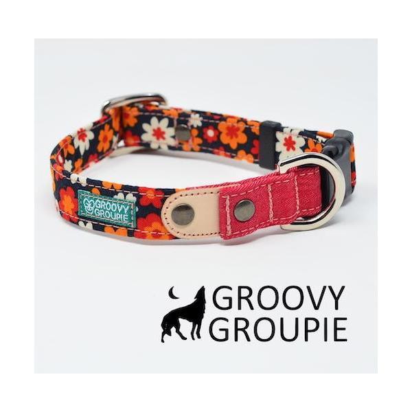 首輪 中型犬用 Mサイズ  レトロ風花柄 & デニム +レザー|groovygroupie|04