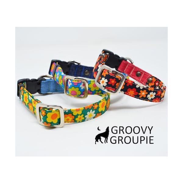 首輪 中型犬用 Mサイズ  レトロ風花柄 & デニム +レザー|groovygroupie|05