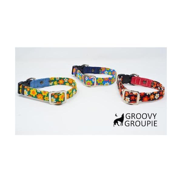 首輪 中型犬用 Mサイズ  レトロ風花柄 & デニム +レザー|groovygroupie|06