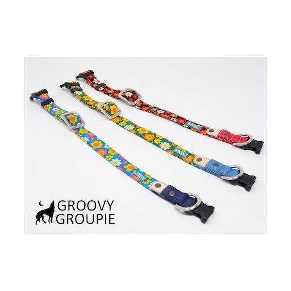 首輪 中型犬用 Mサイズ  レトロ風花柄 & デニム +レザー|groovygroupie|07