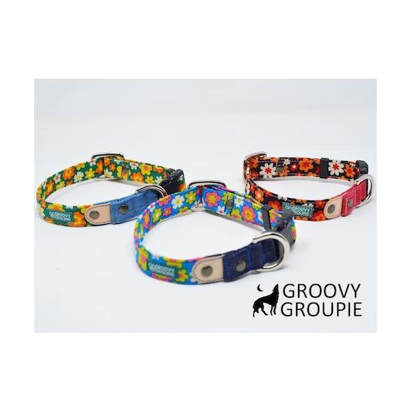 首輪 中型犬用 Mサイズ  レトロ風花柄 & デニム +レザー|groovygroupie|08