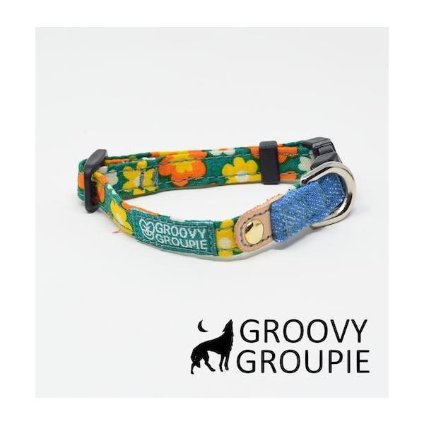 首輪 中型犬用 Mサイズ  レトロ風花柄 & デニム +レザー|groovygroupie|11