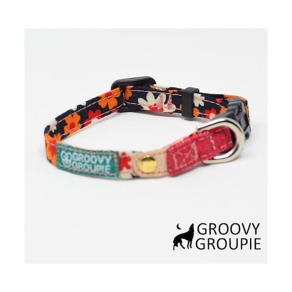 首輪 中型犬用 Mサイズ  レトロ風花柄 & デニム +レザー|groovygroupie|09