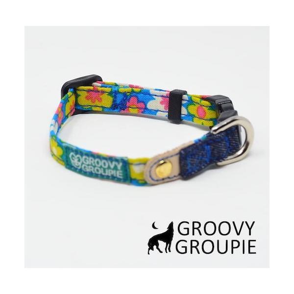 首輪 中型犬用 Mサイズ  レトロ風花柄 & デニム +レザー|groovygroupie|10