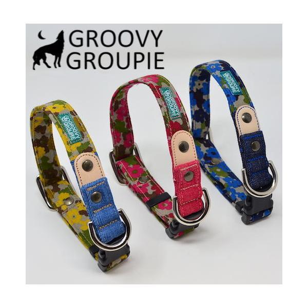 首輪 中型犬用 Mサイズ  迷彩風花柄&デニム +レザー groovygroupie