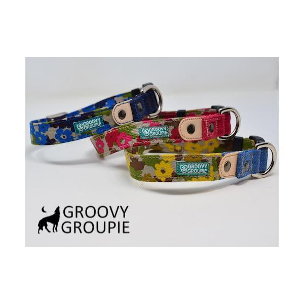 首輪 中型犬用 Mサイズ  迷彩風花柄&デニム +レザー groovygroupie 02