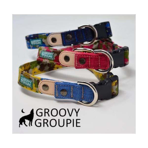 首輪 中型犬用 Mサイズ  迷彩風花柄&デニム +レザー groovygroupie 05