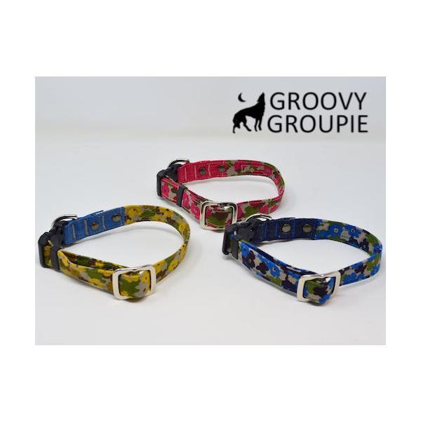 首輪 中型犬用 Mサイズ  迷彩風花柄&デニム +レザー groovygroupie 06