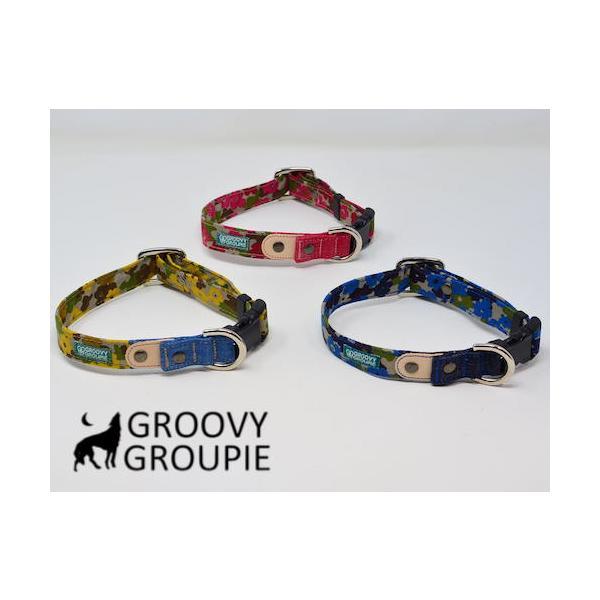 首輪 中型犬用 Mサイズ  迷彩風花柄&デニム +レザー groovygroupie 07