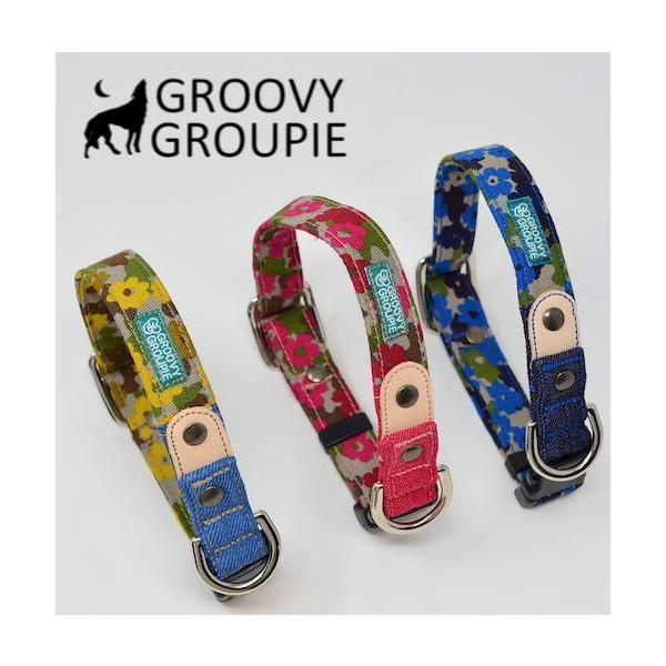 首輪 中型犬用 Mサイズ  迷彩風花柄&デニム +レザー groovygroupie 08