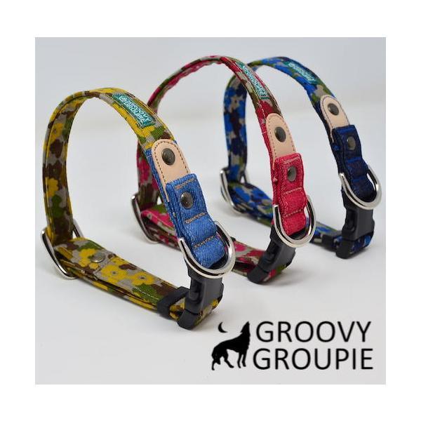 首輪 中型犬用 Mサイズ  迷彩風花柄&デニム +レザー groovygroupie 09