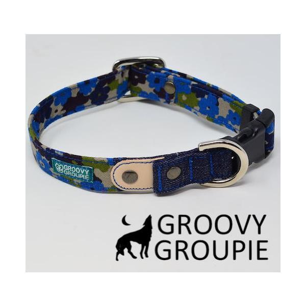 首輪 中型犬用 Mサイズ  迷彩風花柄&デニム +レザー groovygroupie 11