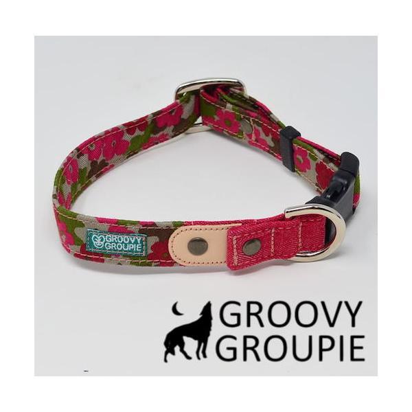 首輪 中型犬用 Mサイズ  迷彩風花柄&デニム +レザー groovygroupie 10