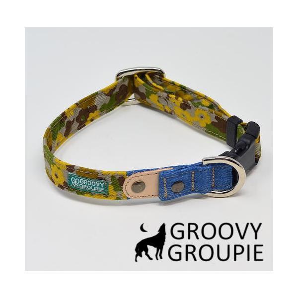 首輪 中型犬用 Mサイズ  迷彩風花柄&デニム +レザー groovygroupie 12