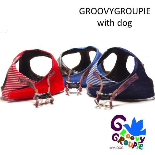 中型犬用 ハーネス  ソフトハーネス ベスト型   犬 胴輪 ボディハーネス 日本製 デニム、ヒッコリーパッチワーク|groovygroupie