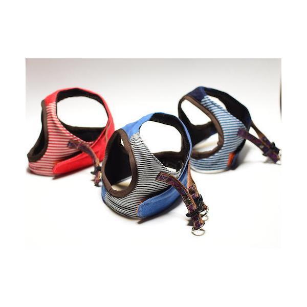 超小型犬用 ハーネス デニム、ヒッコリーパッチワーク SSサイズ ソフトハーネス ベスト型   犬 胴輪 ボディハーネス 日本製 |groovygroupie|02