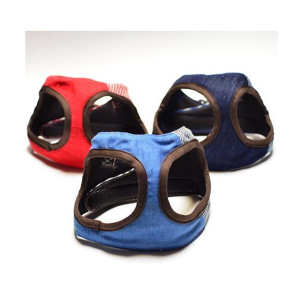超小型犬用 ハーネス デニム、ヒッコリーパッチワーク SSサイズ ソフトハーネス ベスト型   犬 胴輪 ボディハーネス 日本製 |groovygroupie|03