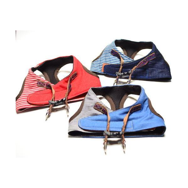 超小型犬用 ハーネス デニム、ヒッコリーパッチワーク SSサイズ ソフトハーネス ベスト型   犬 胴輪 ボディハーネス 日本製 |groovygroupie|05