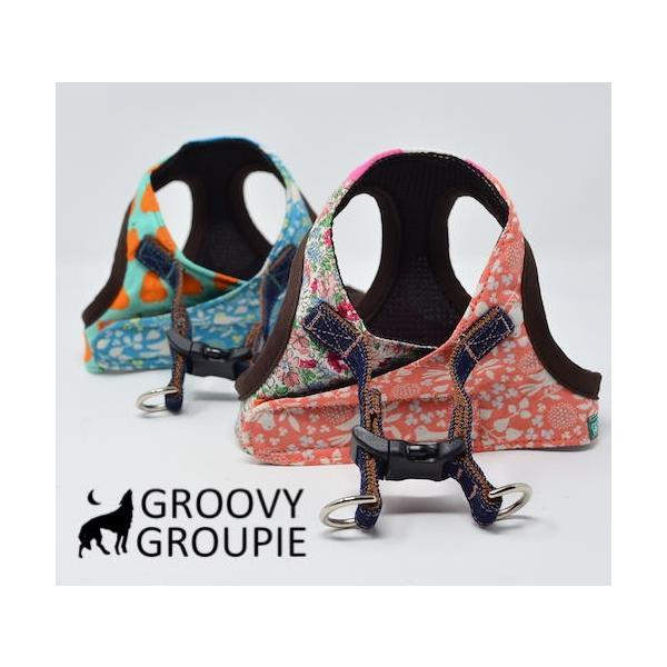超小型犬用 ハーネス パステルバードプリント SSサイズ ソフトハーネス ベスト型   犬 胴輪 ボディハーネス 日本製 |groovygroupie