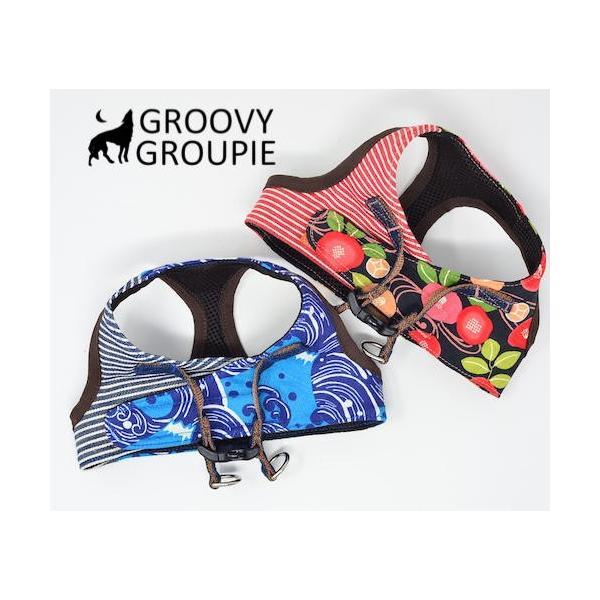 小型犬用 ハーネス  ソフトハーネス ベスト型  犬 胴輪 ボディハーネス 日本製 着物風|groovygroupie