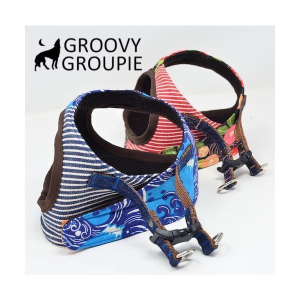 小型犬用 ハーネス  ソフトハーネス ベスト型  犬 胴輪 ボディハーネス 日本製 着物風|groovygroupie|03