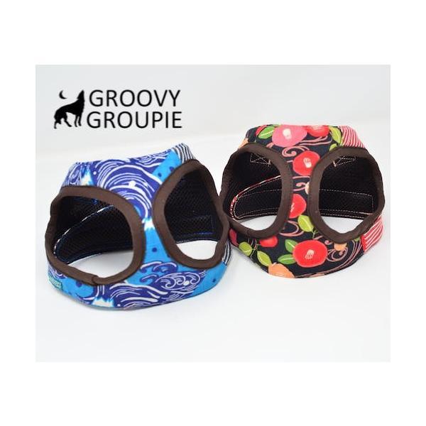 小型犬用 ハーネス  ソフトハーネス ベスト型  犬 胴輪 ボディハーネス 日本製 着物風|groovygroupie|04