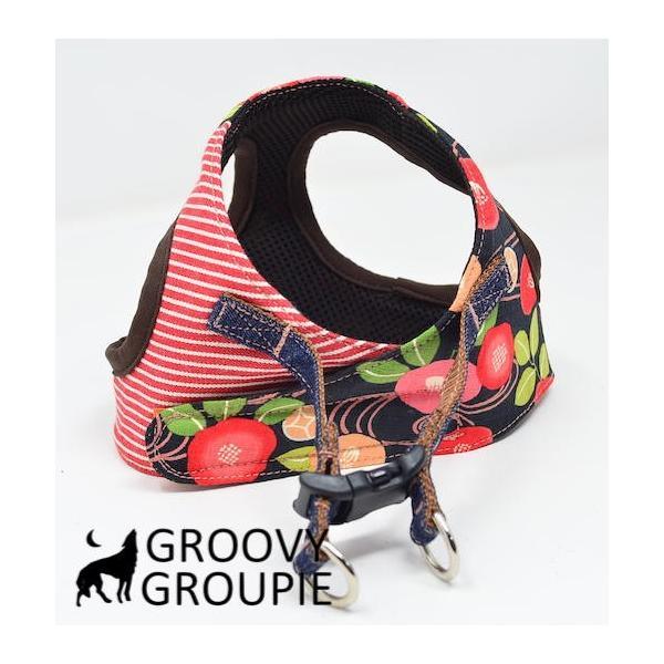 小型犬用 ハーネス  ソフトハーネス ベスト型  犬 胴輪 ボディハーネス 日本製 着物風|groovygroupie|09